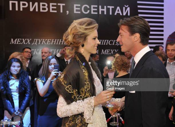 Supermodel Eva Herzigova and Gregorio Marsiaj are seen during a fashion show to celebrate the launch of Capital Partners' luxury Esentai Mall as...