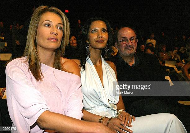 Supermodel Frederique van der Wall Salman Rushdie and his girlfriend Padma Lakshmi attend the Luca Luca Fall 2004 fashion show during the Olympus...
