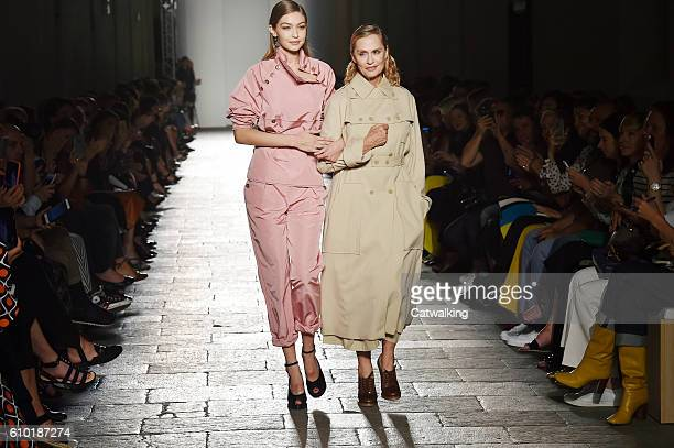 Supermodel Gigi Hadid and movie actor Lauren Hutton walk the runway at the Bottega Veneta Spring Summer 2017 fashion show during Milan Fashion Week...