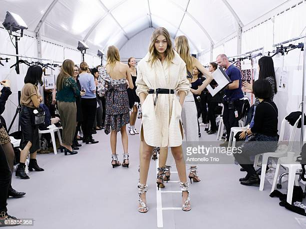 Supermodel Gigi Hadid poses prior the Isabel Marant show as part of the Paris Fashion Week Womenswear Spring/Summer 2017 on September 29 2016 in...