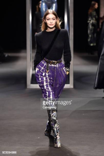Supermodel Gigi Hadid walks the runway at the Alberta Ferretti Autumn Winter 2018 fashion show during Milan Fashion Week on February 21 2018 in Milan...