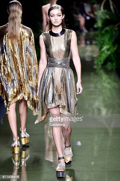 Supermodel Gigi Hadid walks the runway at the Balmain Spring Summer 2017 fashion show during Paris Fashion Week on September 29 2016 in Paris France