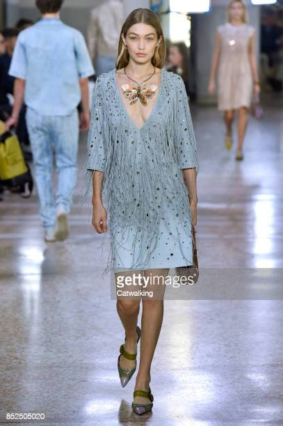 Supermodel Gigi Hadid walks the runway at the Bottega Veneta Spring Summer 2018 fashion show during Milan Fashion Week on September 23 2017 in Milan...