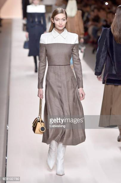Supermodel Gigi Hadid walks the runway at the Fendi Autumn Winter 2018 fashion show during Milan Fashion Week on February 22 2018 in Milan Italy