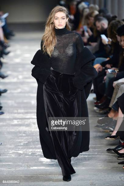 Supermodel Gigi Hadid walks the runway at the Max Mara Autumn Winter 2017 fashion show during Milan Fashion Week on February 23 2017 in Milan Italy