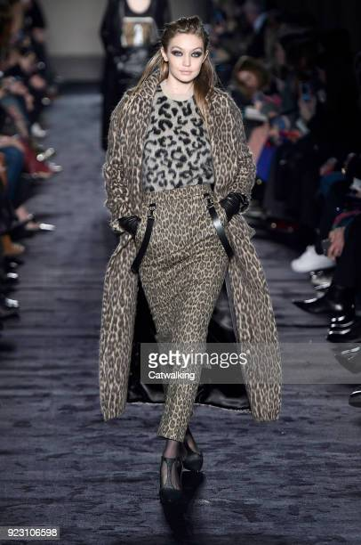 Supermodel Gigi Hadid walks the runway at the Max Mara Autumn Winter 2018 fashion show during Milan Fashion Week on February 22 2018 in Milan Italy