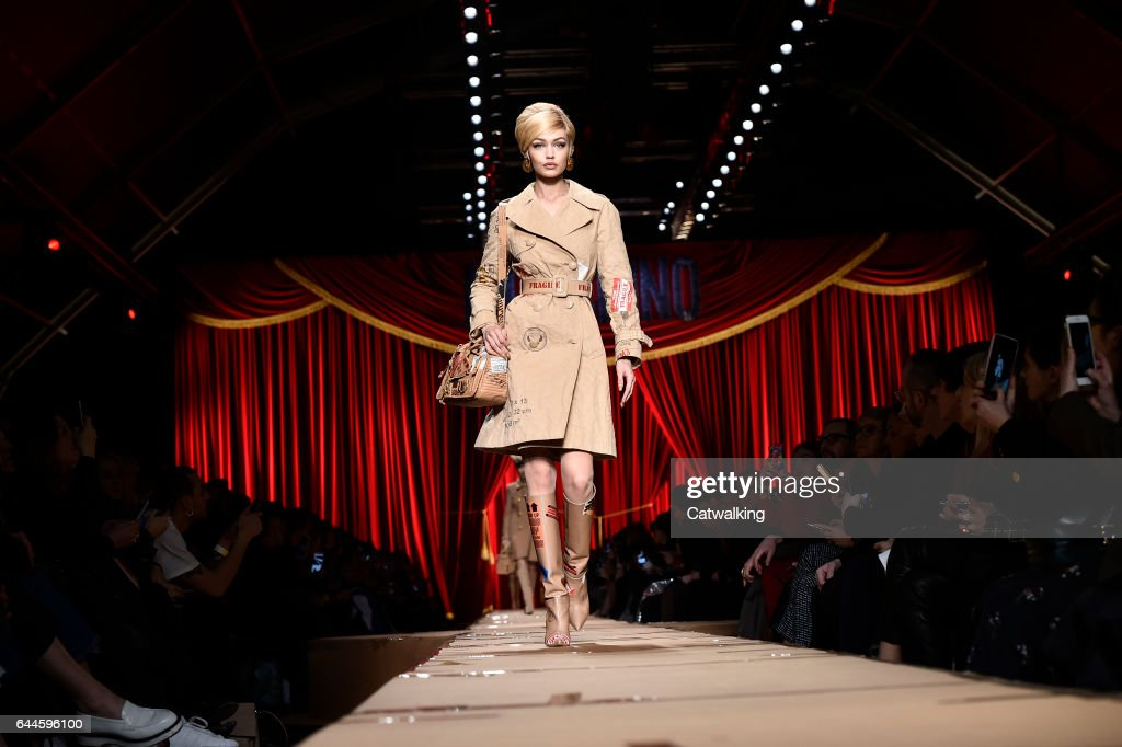 Supermodel Gigi Hadid walks the runway at the Moschino Autumn Winter 2017 fashion show during Milan Fashion Week on February 23, 2017 in Milan, Italy.