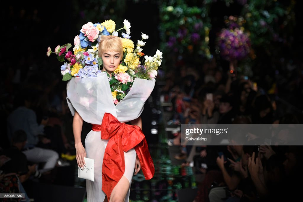 Supermodel Gigi Hadid walks the runway at the Moschino Spring Summer 2018 fashion show during Milan Fashion Week on September 21, 2017 in Milan, Italy.