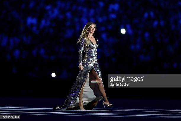 Supermodel Gisele Bundchen walks as The Girl From Ipanema during the Bossa segment during the Opening Ceremony of the Rio 2016 Olympic Games at...
