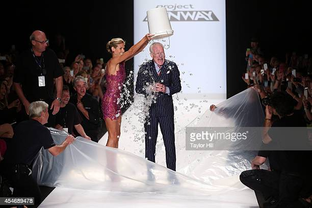 Supermodel Heidi Klum administers the ALS Ice Bucket Challenge to host Tim Gunn at the Project Runway Season 13 Finale Show during MercedesBenz...