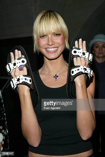 Supermodel Heidi Klum launches self-designed Birkenstock shoe collection at Bryant Park Hotel Cellar Bar February 26, 2003 in New York City.