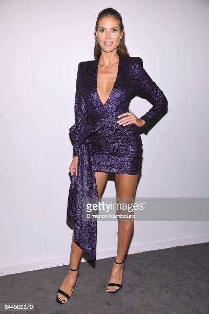 Supermodel Heidi Klum poses backstage at the Project Runway fashion show during New York Fashion Week The Shows at Gallery 1 Skylight Clarkson Sq on...