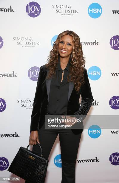 Supermodel Iman attends as inventor and entrepreneur Joy Mangano celebrates the release of her first book INVENTING JOY at WeWork on October 24 2017...