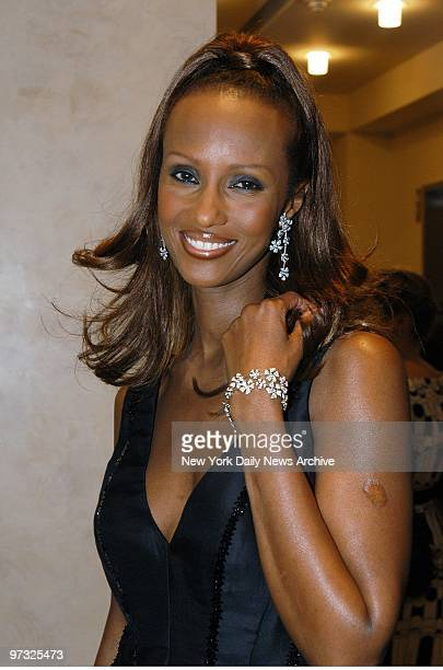 Supermodel Iman is present at Audrey Hepburn The Beauty of Compassion an exhibition and auction of items belonging to the actress at Sotheby's The...