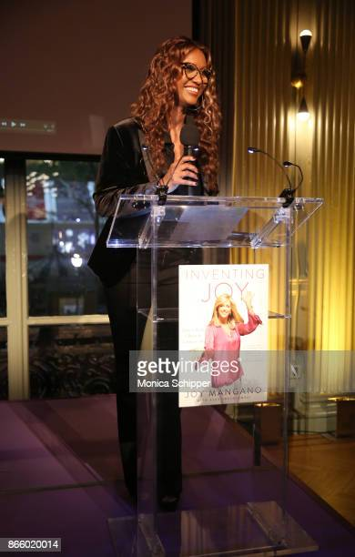 Supermodel Iman speaks on stage as inventor and entrepreneur Joy Mangano celebrates the release of her first book INVENTING JOY at WeWork on October...