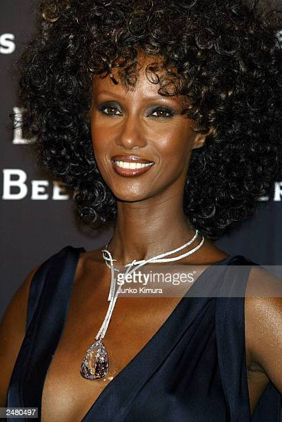 Supermodel Iman wears a 203 carat diamond the largest in the world around her neck during a party organized by De Beers celebrating the opening of...