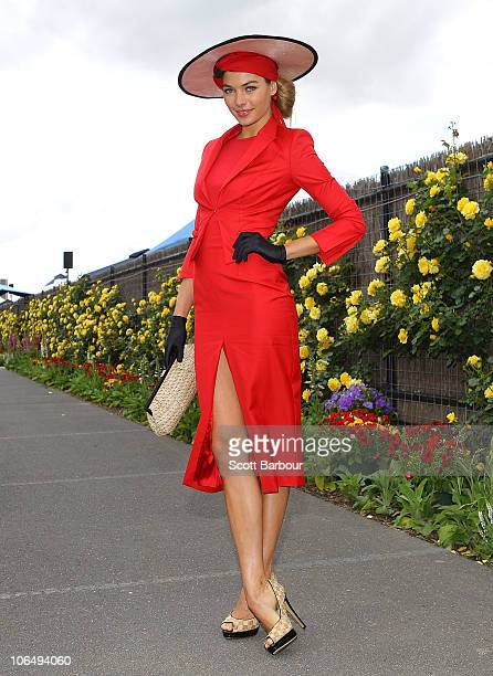 Supermodel Jess Hart attends Crown Oaks Day at Flemington Racecourse on November 4 2010 in Melbourne Australia