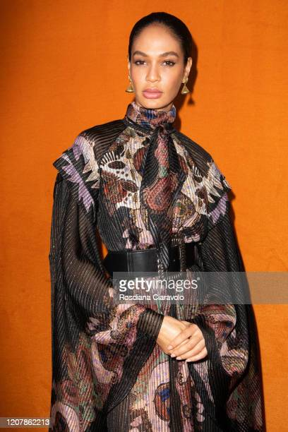 Supermodel Joan Smalls is seen backstage at the Etro fashion show on February 21, 2020 in Milan, Italy.