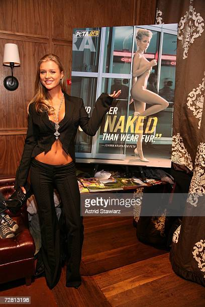 Supermodel Joanna Krupa unveils 'I'd Rather Go Naked Than Wear Fur' PETA ad at Manor Nightclub on December 12 2006 in New York City