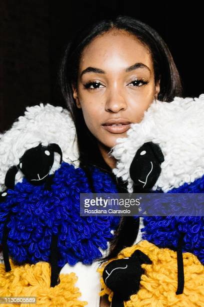 Supermodel Jourdan Dunn is seen backstage ahead of the United Colours Of Benetton show at Milan Fashion Week Autumn/Winter 2019/20 on February 19...
