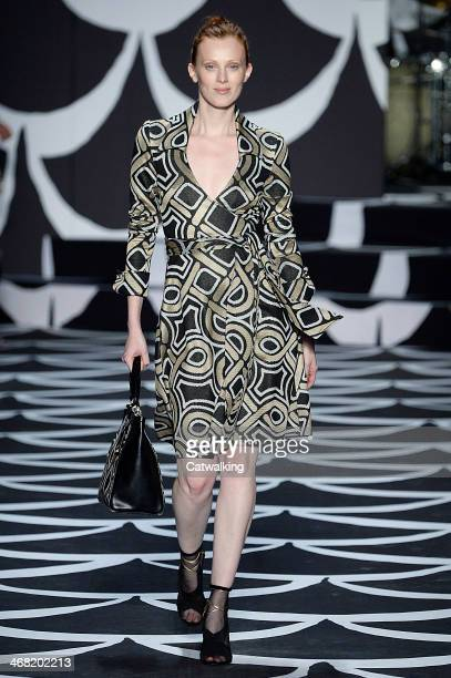 Supermodel Karen Elson walks the runway at the Diane von Furstenberg Autumn Winter 2014 fashion show during New York Fashion Week on February 9, 2014...