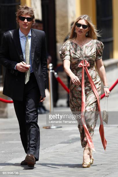 Supermodel Kate Moss and her boyfriend Count Nikolai Von Bismarck arrive to the wedding of Prince Christian of Hanover and Alessandra de Osma at...