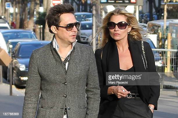 Supermodel Kate Moss and her husband Jamie Hince are sighted on 'Avenue Montaigne' on November 14 2011 in Paris France