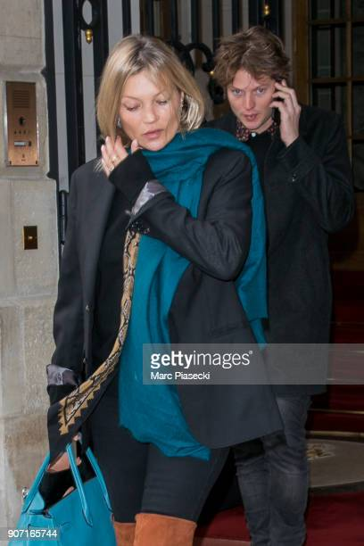 Supermodel Kate Moss and Nikolai Von Bismarck are seen leaving the 'Ritz' hotel on January 19 2018 in Paris France