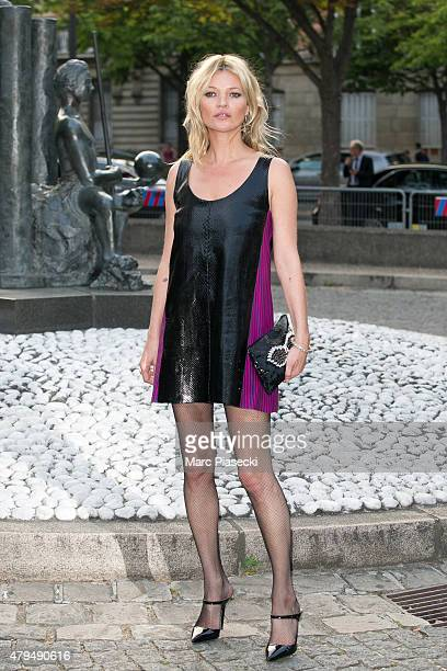 Supermodel Kate Moss attends the Miu Miu Club launch of the first Miu Miu fragrance and croisiere 2016 collection at Palais d'Iena on July 4, 2015 in...