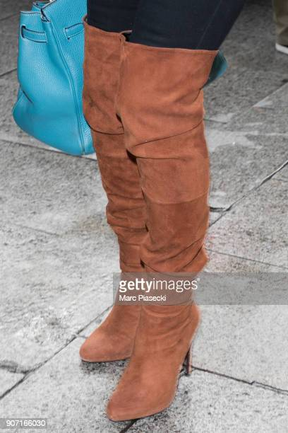 Supermodel Kate Moss boots detail is seen leaving the 'Ritz' hotel on January 19 2018 in Paris France