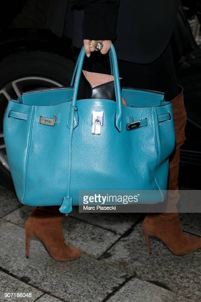 Supermodel Kate Moss handbag detail is seen leaving the 'Ritz' hotel on January 19 2018 in Paris France