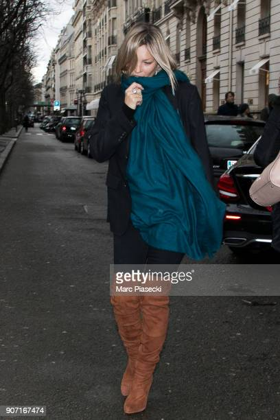 Supermodel Kate Moss is seen leaving the 'Celine' store on Avenue Montaigne on January 19 2018 in Paris France