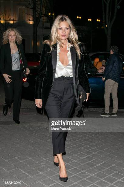 Supermodel Kate Moss is seen on February 26, 2019 in Paris, France.