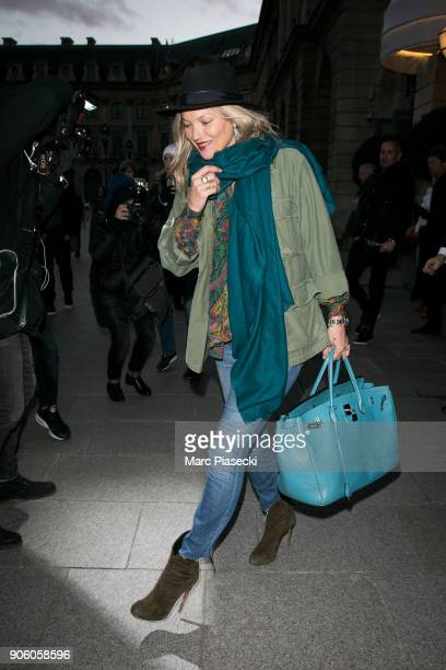 Supermodel Kate Moss is seen on January 17 2018 in Paris France
