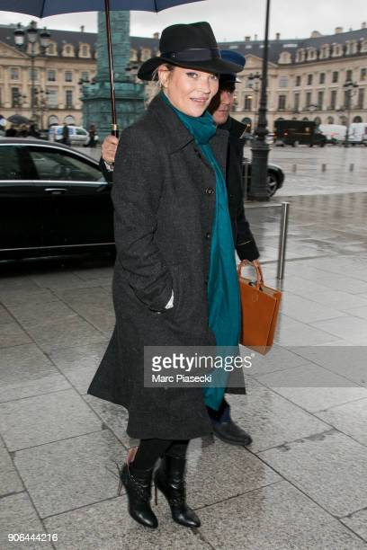 Supermodel Kate Moss is seen on January 18 2018 in Paris France