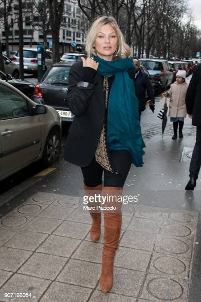 Supermodel Kate Moss is seen on January 19 2018 in Paris France