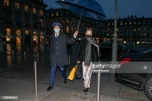 Supermodel Kate Moss is seen on January 27, 2021 in Paris, France.