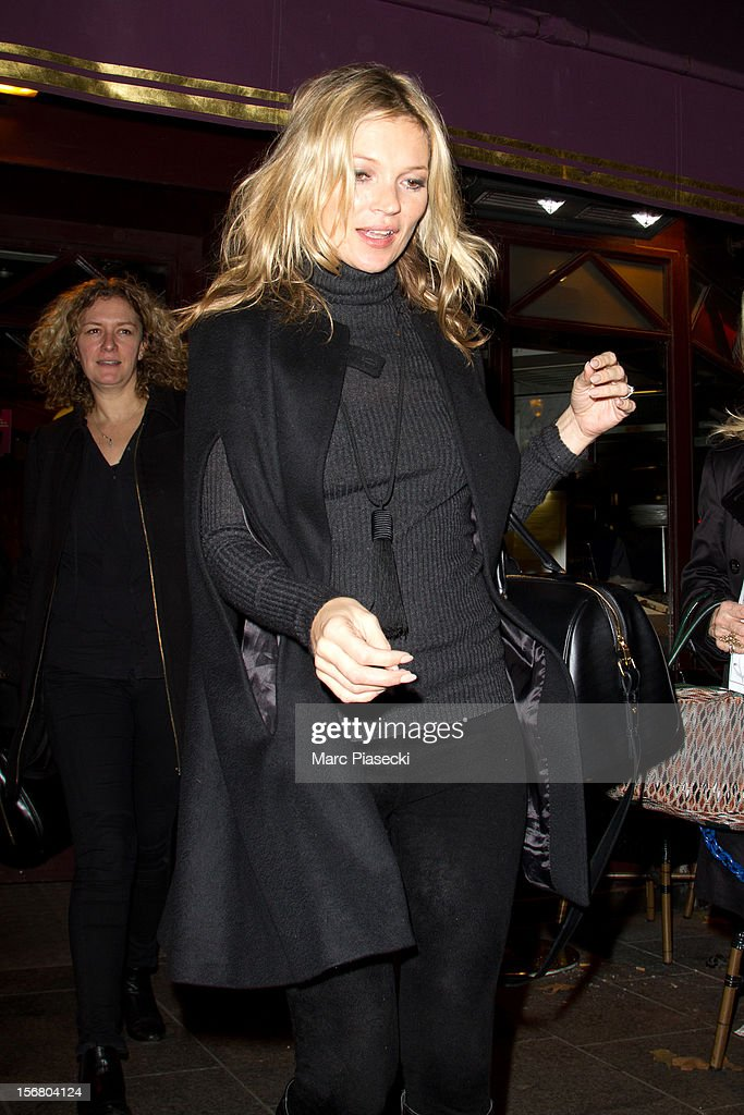Supermodel Kate Moss is sighted leaving the 'Terminus Nord' Brasserie on November 21, 2012 in Paris, France.