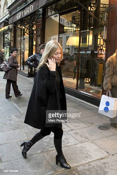 Supermodel Kate Moss is sighting in 'Rue du Faubourg Saint Honore' on November 21 2012 in Paris France