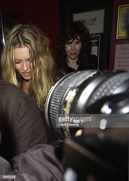 Supermodel Kate Moss leaves the Agent Provocateur Album Launch Party to mark completion of their first ever album Peep Show at Madame JoJo's on...