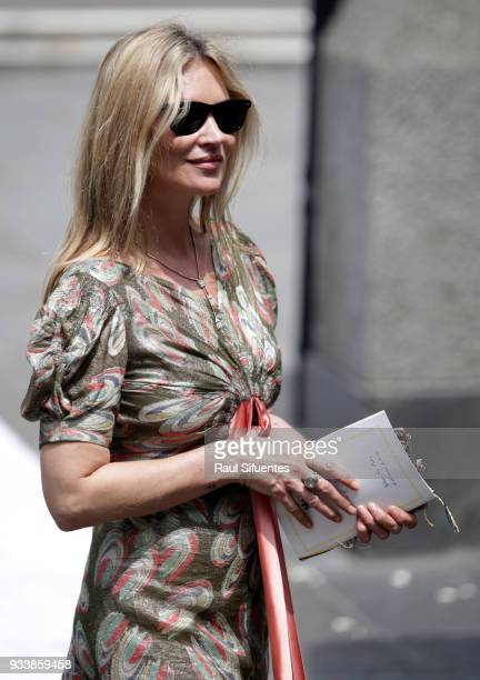 Supermodel Kate Moss leaves the church after the wedding of Prince Christian of Hanover and Alessandra de Osma at Basilica San Pedro on March 16 2018...