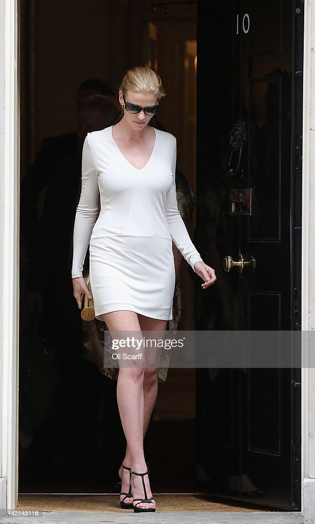 Supermodel Lara Stone, the wife of comedian David Walliams, leaves Number 10 Downing Street on March 30, 2012 in London, England. Mrs Stone joined her husband and celebrities Josh Lewsey, Helen Skelton and John Bishop at a meeting with British Prime Minister David Cameron to discuss their individual efforts to raise money for the Sport Relief.