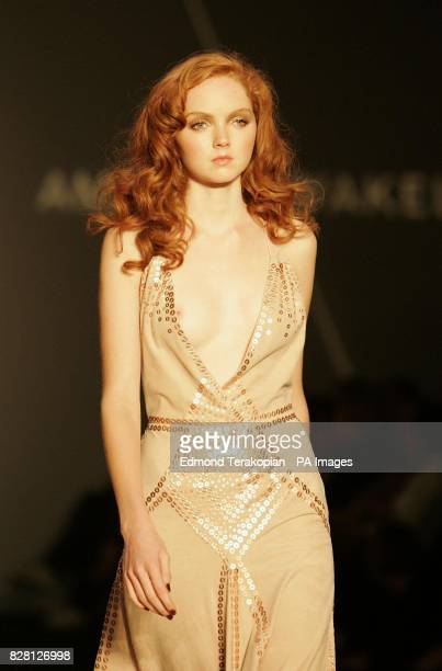 Supermodel Lily Cole wears a creation by designer Amanda Wakeley during her London Fashion Week Spring/Summer 2006 show at the BFC Tent Natural...