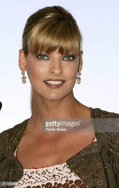 Supermodel Linda Evangelista at a press conference and photo call to welcome her as a special guest at the launch of David Jones Summer 2004...