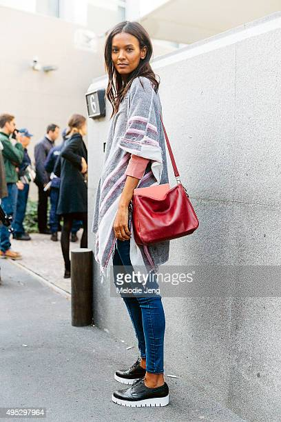 Supermodel Liya Kebede exits the Bottega Veneta show during the Milan Fashion Week Spring/Summer 16 on September 26 2015 in Milan Italy Liya wears a...