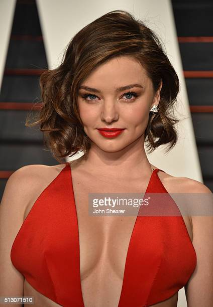 Supermodel Miranda Kerr arrives at the 2016 Vanity Fair Oscar Party Hosted By Graydon Carter at Wallis Annenberg Center for the Performing Arts on...