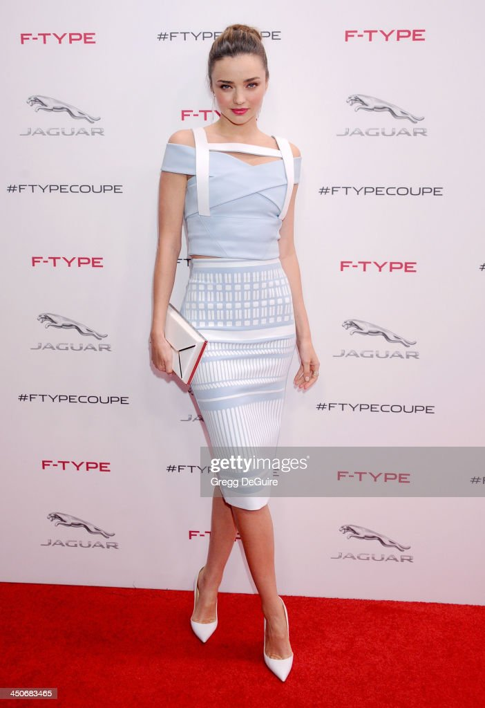Supermodel Miranda Kerr arrives at the Jaguar F-TYPE Coupe launch party at Raleigh Studios on November 19, 2013 in Playa Vista, California.