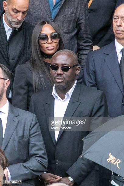 Supermodel Naomi Campbell and Edward Enninful attend Peter Lindbergh's funeral at Eglise SaintSulpice on September 24 2019 in Paris France