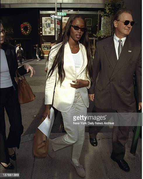 Supermodel Naomi Campbell arrives at the Fashion Cafe to kickoff a fundraising drive for the Red Cross to aid the victims of Hurricane Mitch She's...