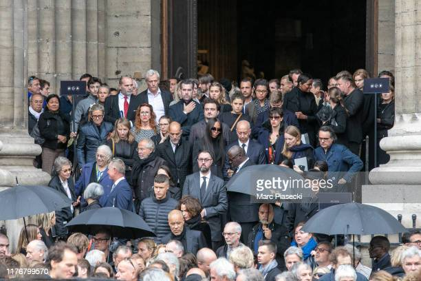 Supermodel Naomi Campbell attends Peter Lindbergh's funeral at Eglise Saint-Sulpice on September 24, 2019 in Paris, France.